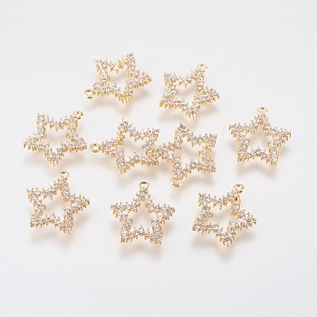 Brass Micro Pave Cubic Zirconia Charms, Open Star, Clear, Real Gold Plated, 15x13.5x2mm, Hole: 1mm