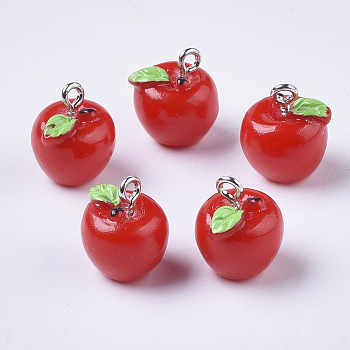 Apple Resin Charms, with Platinum Tone Iron Screw Eye Pin Peg Bails, Red, 15x12mm, Hole: 2mm