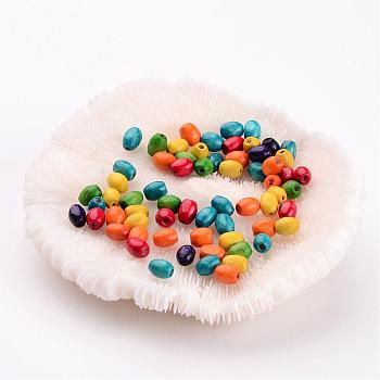 100PCS Mixed Lead Free Oval Wood Beads, Dyed, 4x6mm, hole: about 1.5mm