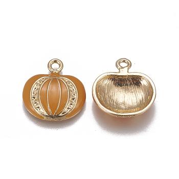 Allou Enamel Pendants, Pumpkin, Orange, Golden, 21.6x20x4.7mm, Hole: 2mm