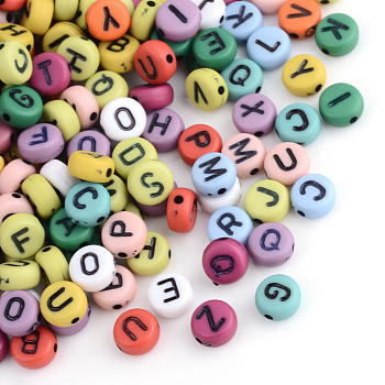 Acrylic Alphabet Beads, Flat Round with Letter, Mixed Color, 7x3.5~4mm, Hole: 1mm