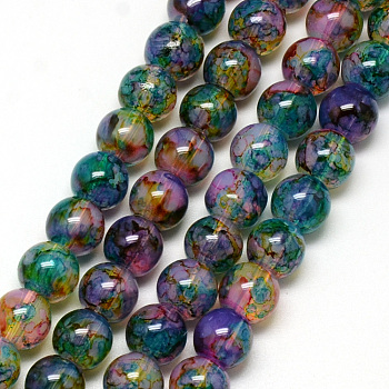 Baking Painted Glass Beads Strands, Imitation Opalite, Round, SeaGreen, 8mm, Hole: 1.3~1.6mm; about 100pcs/strand, 31.4