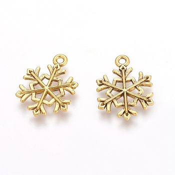 Tibetan Style Pendants, Lead Free & Cadmium Free, Snowflake, for Christmas, Antique Golden, 21x16x2mm, Hole: 2mm