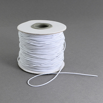 Round Elastic Cord, with Fibre Outside and Rubber Inside, for Bracelet String, DIY Face Cover Mouth Cover, White, 1mm; 100m/roll