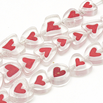 Handmade Lampwork Beads Strands, Heart, Red, 8~14x8~14x3~4mm, Hole: 1mm; about 36pcs/strand, 15.7