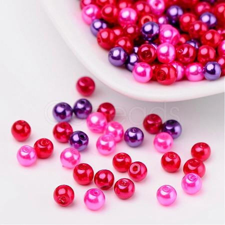 Valentine's Mix Glass Pearl Beads Sets HY-X006-4mm-10-1