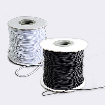 Gorgecraft® Round Elastic Cord, with Nylon Outside and Rubber Inside, White & Black, 2mm; 40m/roll, 2rolls/set