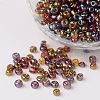 6/0 Transparent Rainbow Colours Round Glass Seed Beads X-SEED-A007-4mm-176-1