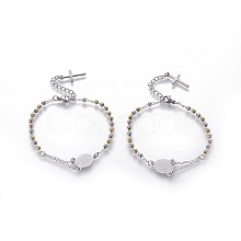 304 Stainless Steel Charm Bracelets BJEW-P258-17GP