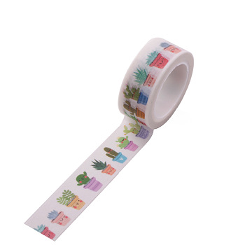 DIY Scrapbook Decorative Adhesive Tapes, Cactus, White, 15mm, 5m/roll(5.46yards/roll)