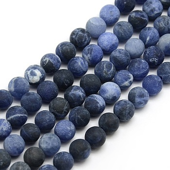 Frosted Natural Sodalite Round Bead Strands, 8mm, Hole: 1mm; about 47~49pcs/strand, 14.9~15.6inches
