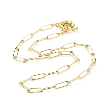 Brass Paperclip Chain, Drawn Elongated Cable Chain Necklaces, with Spring Ring Clasps, Golden, 16.92 inches(43cm)