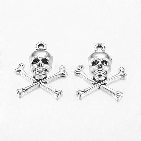 Antique Silver Tibetan Style Pirate Style Skull PendantX-LF10441Y-1