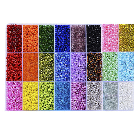 24 Colors 6/0 Glass Seed BeadsSEED-X0052-02-4mm-1