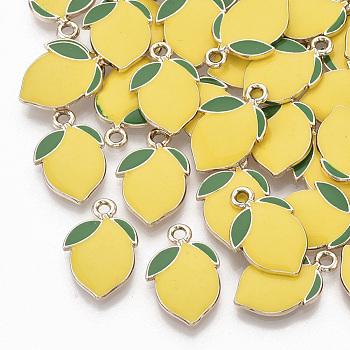 Alloy Enamel Pendants, Light Gold, Lemon, Gold, 20.5x13.5x2.5mm, Hole: 2mm