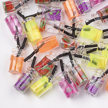 Glass Bottle Pendants, with Resin Inside, Fruit Tea Charms, Mixed Color, 25~28x10mm, Hole: 1.8mm