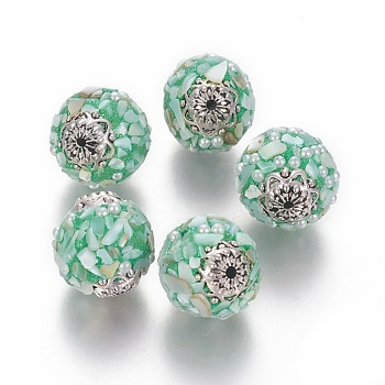 Handmade Indonesia Beads, with Metal Findings, Round, Aquamarine, 19x18mm, Hole: 1.5mm