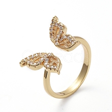 Adjustable Brass Cuff Finger Rings RJEW-G096-03G