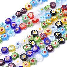 Flat Round Handmade Millefiori Glass Beads X-LK-R004-54