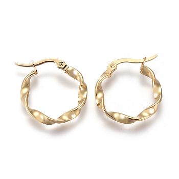201 Stainless Steel Hoop Earrings, Hypoallergenic Earrings, Twisted Ring Shape, Golden, 9 Gauge, 21x3mm, Pin: 0.7mm