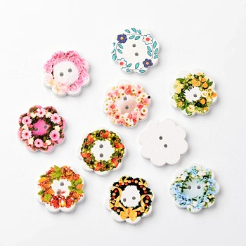 Flower 2-Hole Wooden Buttons, Mixed Color, 19x3mm, Hole: 1mm