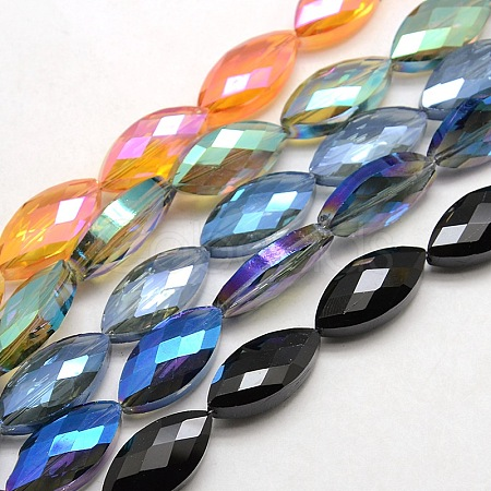 Faceted Electroplate Crystal Glass Horse Eye Beads StrandsEGLA-F071-M-1