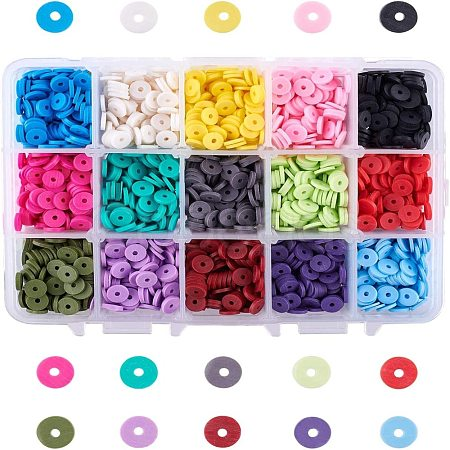 15 Colors Eco-Friendly Handmade Polymer Clay BeadsCLAY-JP0001-02-6mm-1