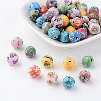 Handmade Polymer Clay Beads, for DIY Jewelry Crafts Supplies, Mixed Color, Round, about 10mm in diameter, hole: 2mm