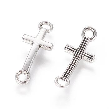 Tibetan Style Alloy Links, Cross, Cadmium Free & Lead Free, Antique Silver, 20x8x2mm, Hole: 2mm