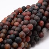 Dyed Frosted Natural Agate Round Beads StrandsX-G-E322B-8mm-01-1