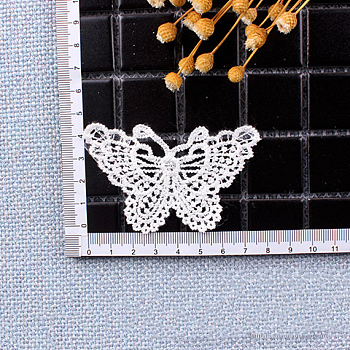 Lace Embroidery Sewing Fiber, DIY Garment Accessories, Butterfly, White, 55x72mm