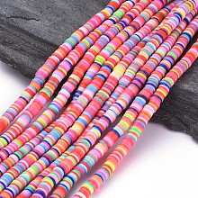 Flat Round Environmental Handmade Polymer Clay Beads CLAY-R067-6.0mm-M1