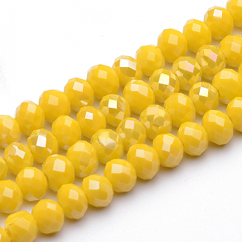 Electroplate Glass Faceted Rondelle Bead Strands, AB Color Plated, Yellow, 6x4mm, Hole: 1mm; about 100pcs/strand, 15.7