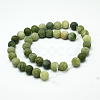 Round Frosted Natural TaiWan Jade Bead StrandsG-M248-6mm-02-3