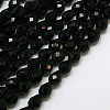 Black Faceted Glass Drop Beads StrandsX-GLAA-E010-8x12mm-17-2