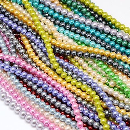 Environmental Dyed Glass Pearl Round Bead Strands HY-A002-6mm-M-1