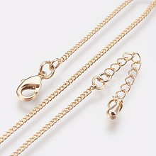 Long-Lasting Plated Brass Curb Chain Necklaces NJEW-K112-07G-NF