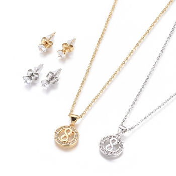 304 Stainless Steel Jewelry Sets, Brass Micro Pave Cubic Zirconia Pendant Necklaces and 304 Stainless Stud Earrings, with Plastic Ear Nuts/Earring Back, Flat Round with Infinity, Clear, Golden & Stainless Steel Color, 17.52inches(44.5cm); 1.5mm; 15x5.5mm; Pin: 0.7mm