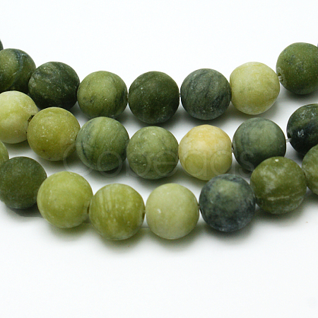 Round Frosted Natural TaiWan Jade Bead StrandsG-M248-10mm-02-1