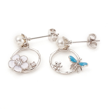 Brass Micro Pave Clear Cubic Zirconia Ear Studs, Asymmetrical Earrings, with Enamel, ABS Plastic Pearl, Ear Nuts and Sterling Silver Pins, Ring, Flower & Butterfly, Platinum, 18~19.5mm, Pin: 0.7mm