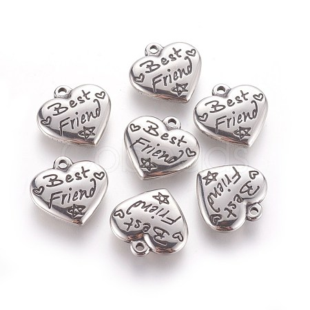 Heart with Word Best Friend 316 Stainless Steel PendantsSTAS-I061-136-1