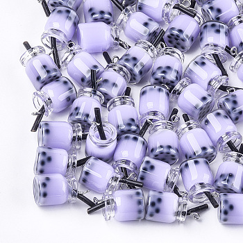 Glass Bottle Pendants, with Resin Inside and Iron Findings, Imitation Bubble Tea, Lilac, 20~25x11~14x11mm, Hole: 1.8mm