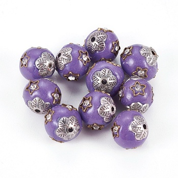 Handmade Indonesia Beads, with Alloy Cores, Oval, Antique Silver, MediumPurple, 12.5x11mm, Hole: 1.5mm