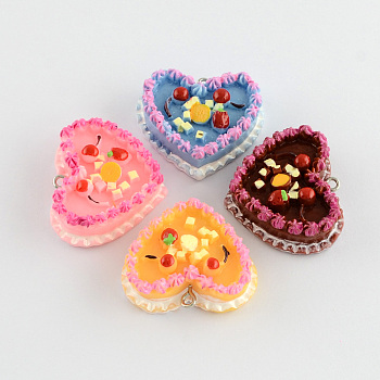 Food Resin Cake Pendants, Mixed Color, 28x33x11mm, Hole: 2mm