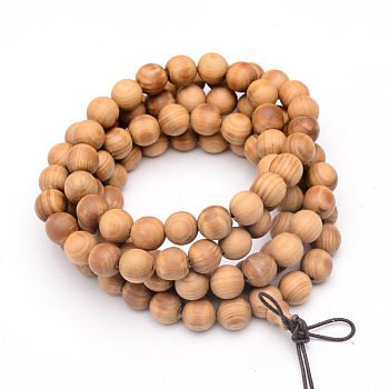 5-Loop Wrap Style Buddhist Jewelry, Western Red Cedar Mala Bead Bracelets/Necklaces, Round, SandyBrown, 34-5/8