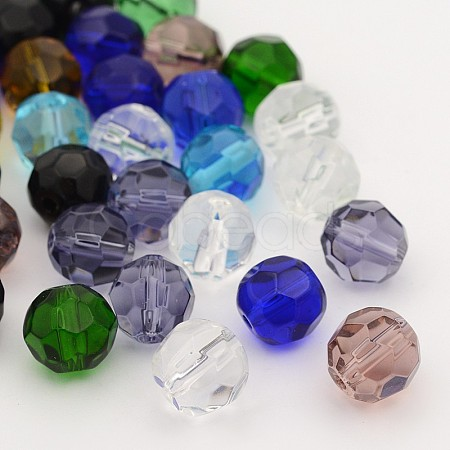 Faceted Glass Round Beads Strands X-GF10MM-1