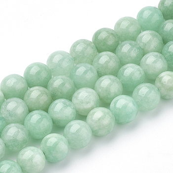 Natural Myanmar Jade/Burmese Jade Beads Strands, Round, 8mm, Hole: 1mm; about 48pcs/strand, 15.3